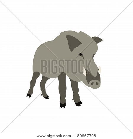 Wild boar vector illustration style Flat front