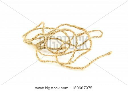 Natural fiber manila rope, isolated on white background