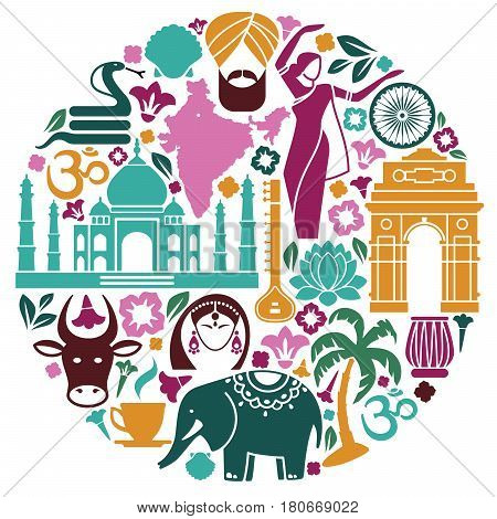Traditional symbols of India in the form of a circle