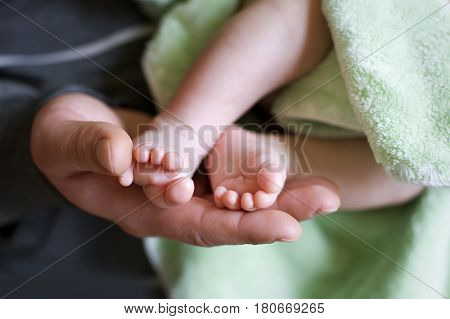 Baby feet cupped into mothers lovely hands with soft focus on babie's foot