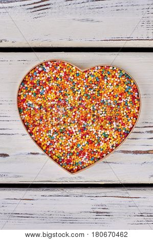 Sprinkle dots, heart shaped box. Lots of colorful sugar sprinkles. Valentine gift for her.