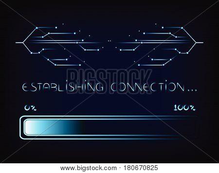 Nternet Connecion Lines With Progress Bar Loading, Vector