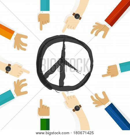 peace conflict resolution symbol of international effort together cooperation in community and tolerance vector