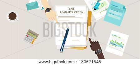 car loan application form submission document paper work vector