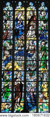 Stained Glass - Jesus Christ And Mother Mary