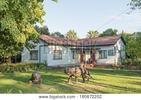 NIEU BETHESDA SOUTH AFRICA - MARCH 22 2017: An early morning street scene at the Kitching Fossil Exploration Centre in Nieu-Bethesda an historic village in the Eastern Cape Province
