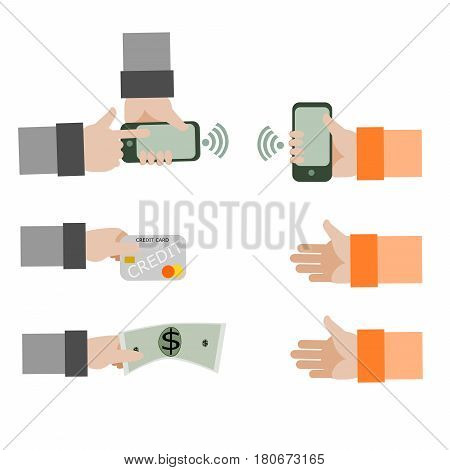 Customer hand  holding a credit card, money and electronic money by mobile phone for paying order on white background.