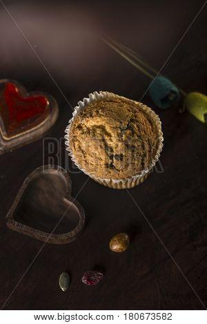 Gluten Freen Muffin With Dark Unsweetened Chocolate Beans,