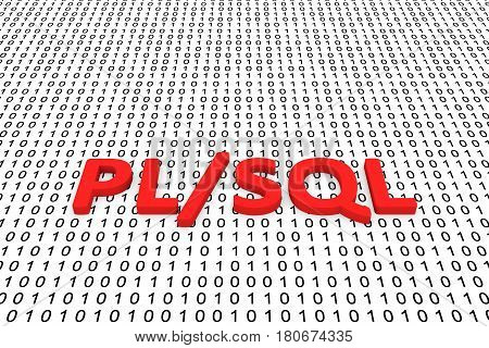 PL SQL in the form of binary code, 3D illustration