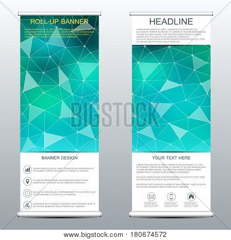 Roll-up banner templates for presentation and publication molecular structure of dna and neurons background