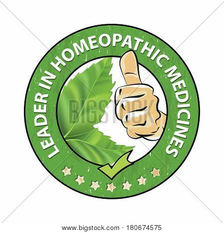 Leader in homeopathic medicines - printable stamp / sticker with green leaves. Print colors used