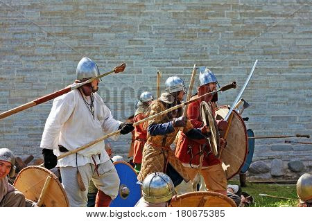 Old Ladoga Russia - 17 July 2016: Festival The first capital of Russia in the Old Ladoga. Festival 2016 is dedicated to the of the birth of Russian statehood. It is here from the ancient city of Ladoga in 862 was called Rurik to rule - the first Russian p