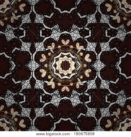 Seamless classic vector golden pattern. Traditional orient ornament classic vintage background. Seamless pattern on brown background with golden elements.