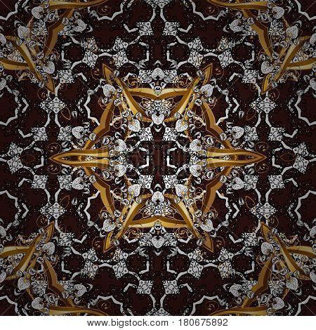 Seamless classic golden pattern. Vector traditional orient ornament. Golden pattern on brown background with golden elements.