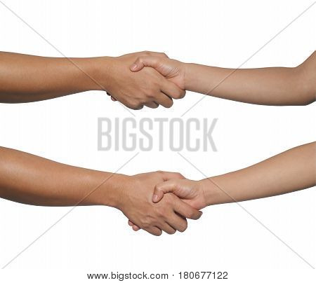 Hand of woman and man with Handshake isolated on white background and have clipping paths to easy deployment.