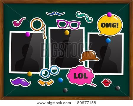 Blackboard with photo frames, fashion patch badges or stickers and colorful magnets.