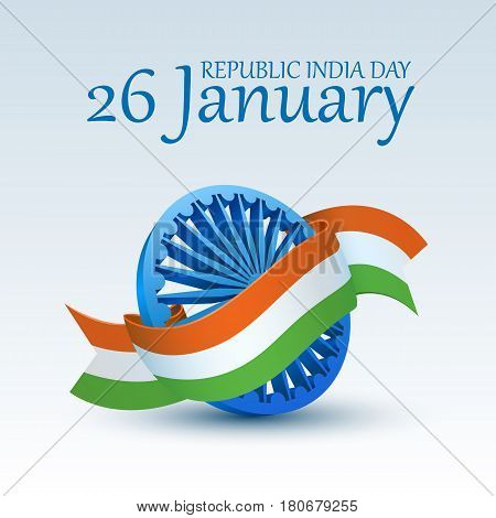 Happy Indian Republic Day celebration. 3D Ashoka Wheel covered by national tricolor ribbon for 26 January . Vector illustration