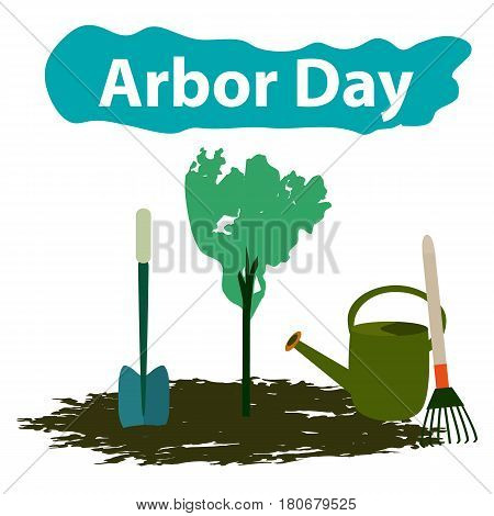 Arbor Day. 29 April. Tree. Garden tools. Shovel rake watering can Vector illustration