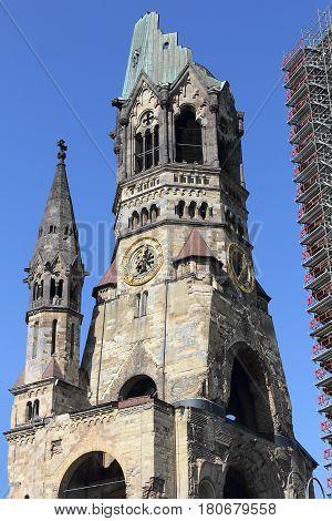 Steeple of the Kaiser Wilhelm Memorial Church in Berlin the German capital