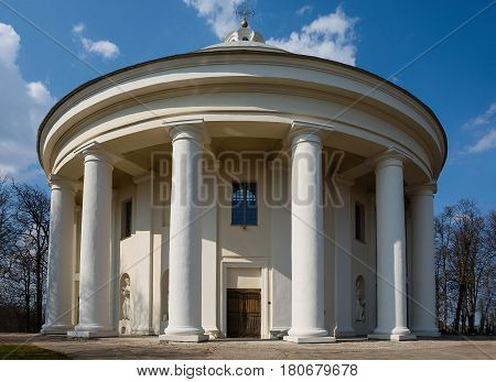 Classicist rotunda of the Church of Holy Trinity in Suderve Lithuania