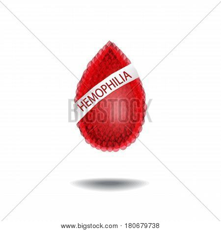 World Hemophilia Day. 17 April. A drop of blood with an inscription. Vector illustration.