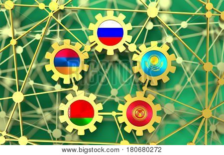 EAEU - Eurasian Economic Union association of five national economies members flags in gears. Global teamwork. Molecule And Communication Background. Brochure design. Connected lines with dots