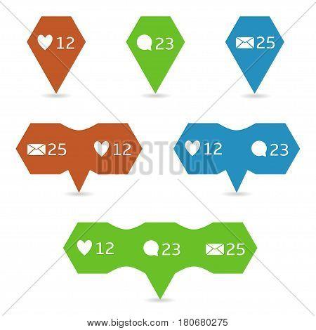 Social network app symbols Heart like New message bubble Friend request quantity number