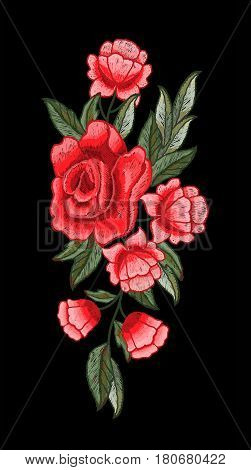 Beautiful rose embroidery vector for textile design.