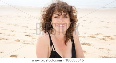 Brown Woman On The Beach In Summer