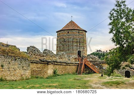 Walls of Fortress Akkerman Bilhorod-Dnistrovskyi Ukraine. This Fortress is located on the right bank of the Dniester Liman dates from the 13th century and is a prime example of medieval fortress.