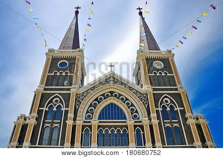 Traditional beatiful ancient big church in Thailand