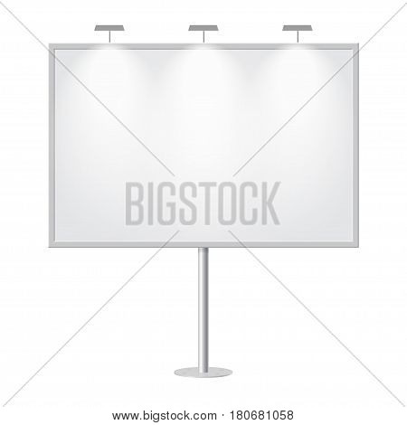 Blank billboard with empty copy space stand on one bar support. Outdoor board with single stand in vector. White mockup with frame for message commercial or presentation rectangle and horizontal.