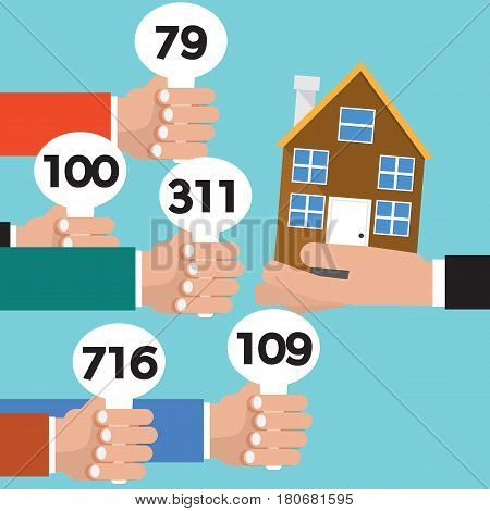 Real Estate Auction Conceptual Vector Illustration. EPS 10