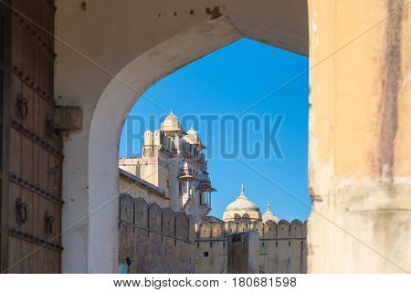 Framed View Of The Honey Toned Impressive Amber Fort, Famous Tourist Attraction At Jaipur, Rajasthan