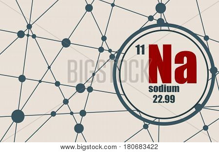 Sodium chemical element. Sign with atomic number and atomic weight. Chemical element of periodic table. Molecule And Communication Background. Connected lines with dots.