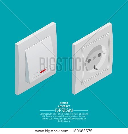 Switch of lighting and electric socket. Electric devices. Isometric projection.3d style. Vector illustration.Design elements.