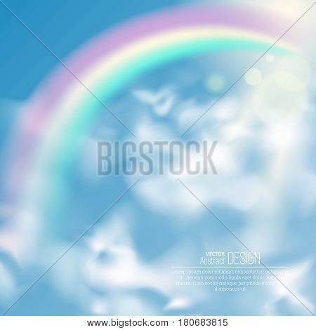 Realistic rainbow and clouds. An arch from a rainbow in the sky. Summer time. Abstract background. Vector illustration.