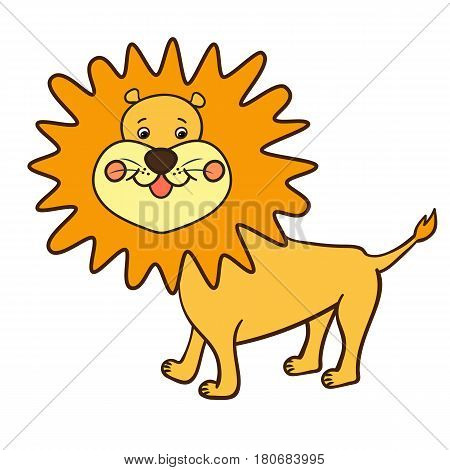 One cute friendly smiling yellow lion with the orange mane.Cartoon wild African animal. Vector illustration.The isolated image on a white background.