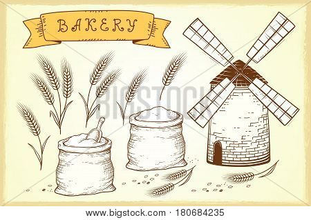 vintage hand drawn bakery set with mill and wheat ears