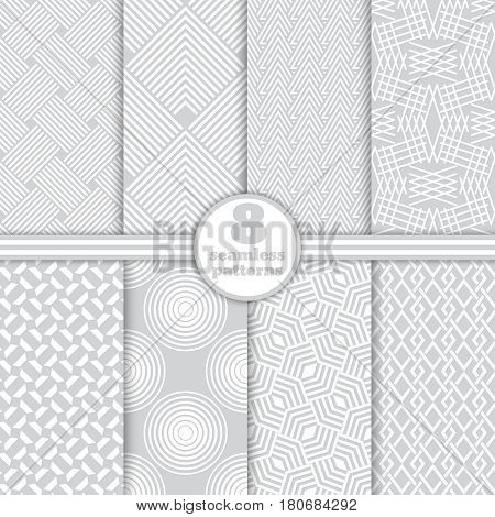 Set of vector seamless patterns. Modern stylish geometric textures. Infinitely repeating geometrical ornaments with different geometric shapes: Crosses thin lines triangles circles rhombuses diamonds