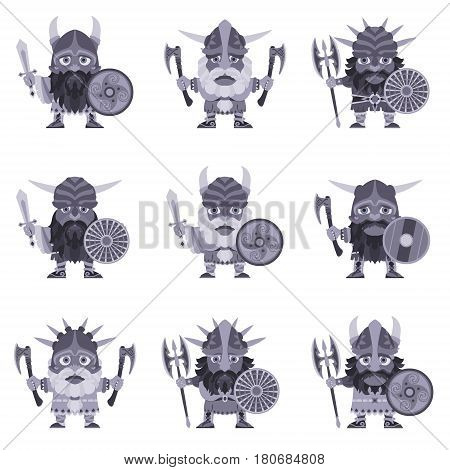 Set of Vikings. Vector illustration of warriors with ax sword symmetrical double-bitted axe and armor. A medieval man in a costume with weapon and shield in hand. Isolated character in a flat style
