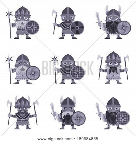 Set of Vikings. Vector illustration of warriors with ax sword and armor. A medieval man in a costume with weapon and shield in hand. Isolated characters on a white background in a flat style.