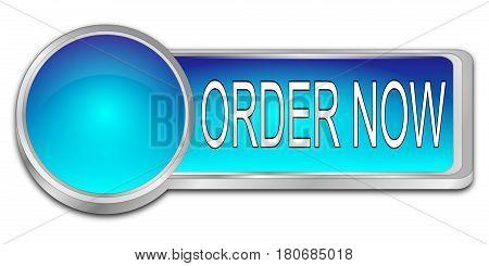 blue Order now dash Button - 3D illustration