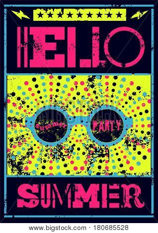 Hello Summer! Typographic Summer Party grunge retro poster design. Vector illustration.