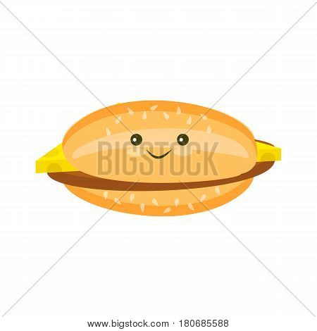 Flat Kawaii cheeseburger with a cutlet and cheese and sesame icon isolated on white background