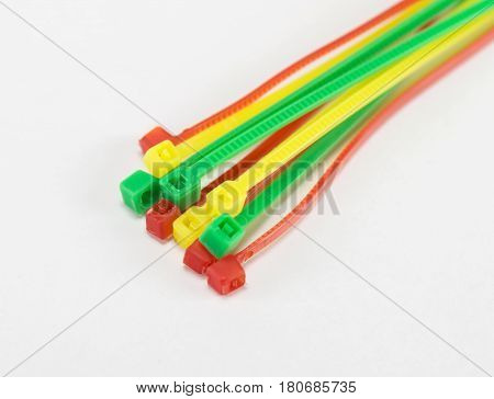 the cable ties isolated on white background