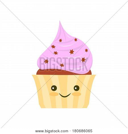 Flat Kawaii cake icon isolated on white background