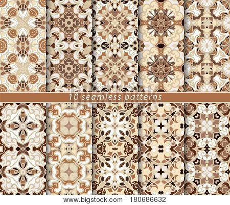 Ten seamless patterns in Oriental style. Eastern ornaments for design fabric wrapping paper or scrapbooking. Vector illustration in brown colors.