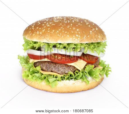 Fresh, delicious burger or cheeseburger with salad, onion rings, tomato and grilled beef. Isolated hamburger, isolated on white background.