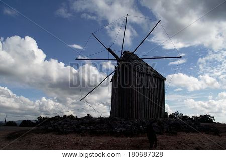 Disused windmill in Portuguese village of Avacasta